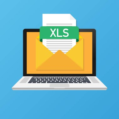 Laptop with envelope and XLS file. Notebook and email with file attachment XLS document. Vector illustration.