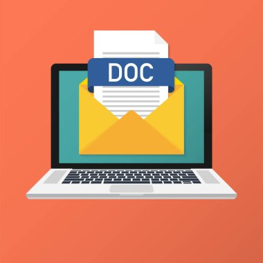 Laptop with envelope and DOC file. Notebook and email with file attachment DOC document. Vector illustration.