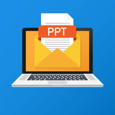 Laptop with envelope and PPT file. Notebook and email with file attachment PPT document. Vector illustration.