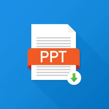 Download PPT button. Downloading document concept. File with PPT label and down arrow sign. Vector illustration.
