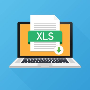 Download XLS button on laptop screen. Downloading document concept. File with XLS label and down arrow sign. Vector illustration.