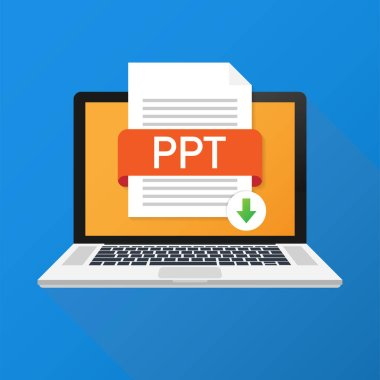 Download PPT button on laptop screen. Downloading document concept. File with PPT label and down arrow sign. Vector illustration.