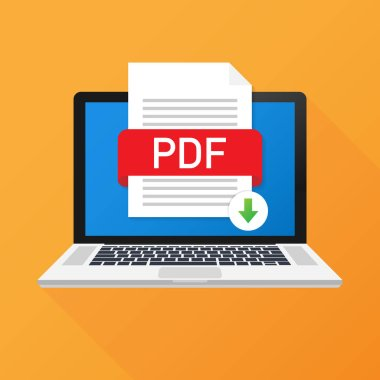 Download PDF button on laptop screen. Downloading document concept. File with PDF label and down arrow sign. Vector illustration.