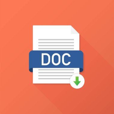 Download DOC button. Downloading document concept. File with DOC label and down arrow sign. Vector illustration.