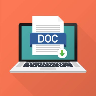 Download DOC button on laptop screen. Downloading document concept. File with DOC label and down arrow sign. Vector illustration.
