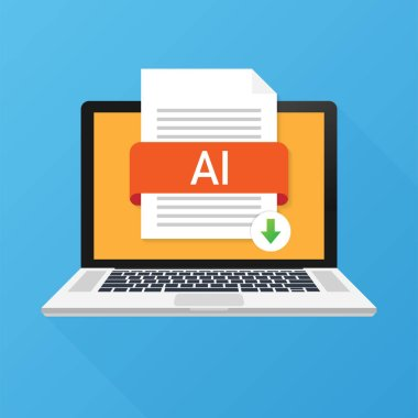 Download AI button on laptop screen. Downloading document concept. File with AI label and down arrow sign. Vector illustration.