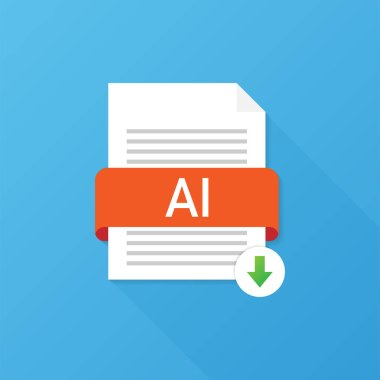 Download AI button. Downloading document concept. File with Ai label and down arrow sign. Vector illustration.