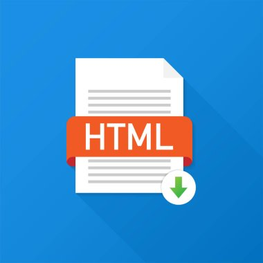 Download HTML button. Downloading document concept. File with HTML label and down arrow sign. Vector illustration.