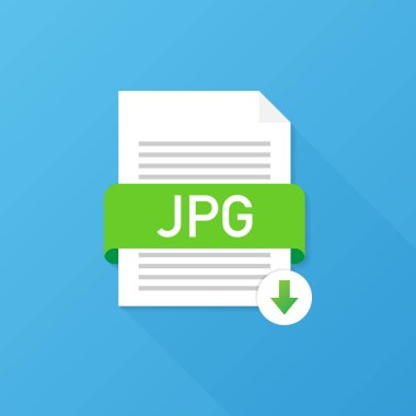Download JPG button. Downloading document concept. File with JPG label and down arrow sign. Vector illustration.