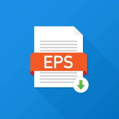 Download EPS button. Downloading document concept. File with EPS label and down arrow sign. Vector illustration.
