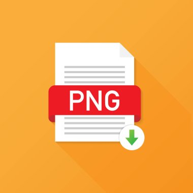 Download PNG button. Downloading document concept. File with PNG label and down arrow sign. Vector illustration.