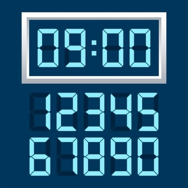 Digital clock  number set. Vector illustration.