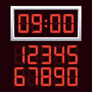 Digital clock  number set. Vector illustration.
