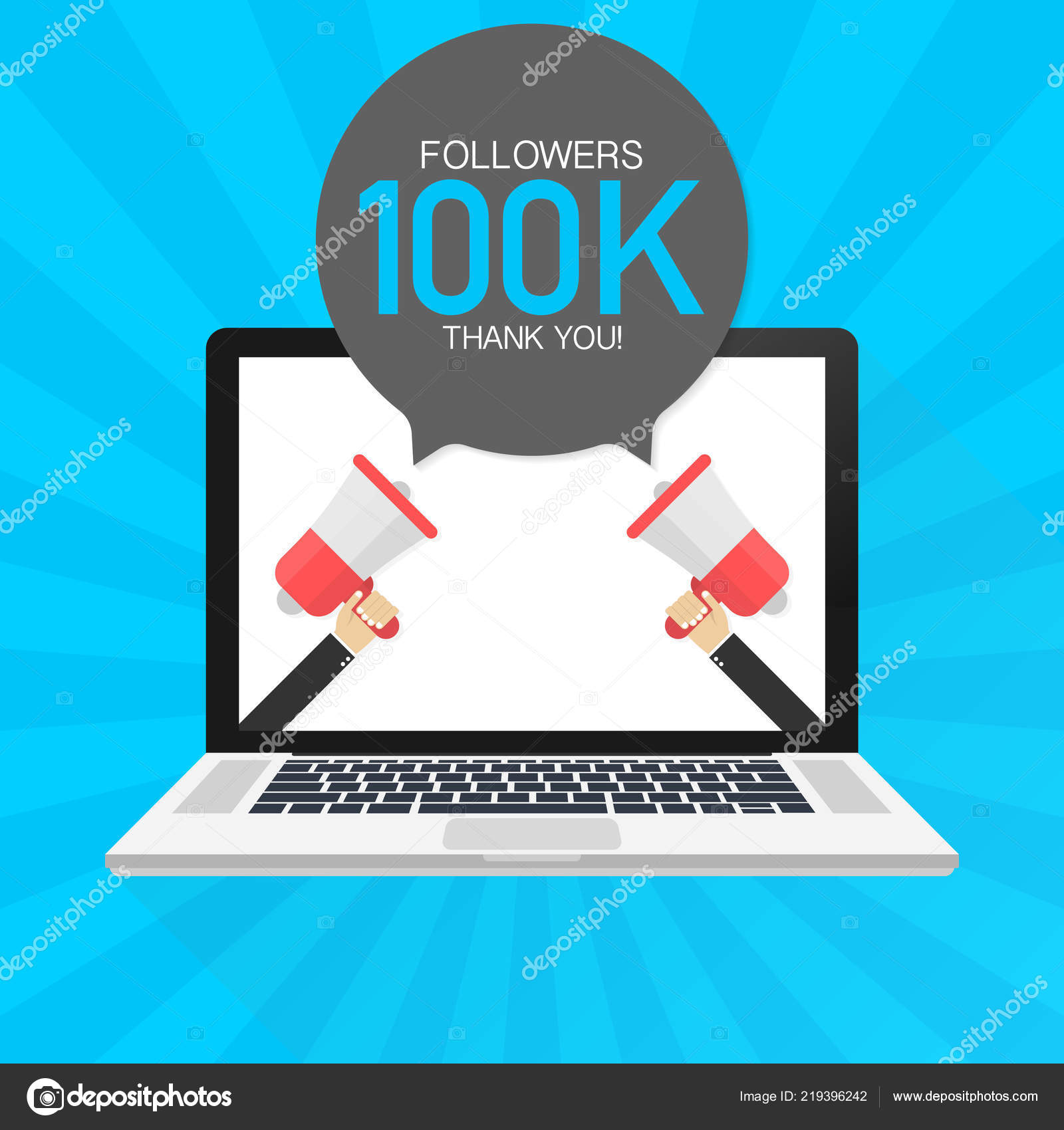 100000 followers thank you card with laptop template for social