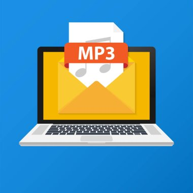 Laptop with envelope and MP3 file. Notebook and email with file attachment MP3 document. Vector illustration.