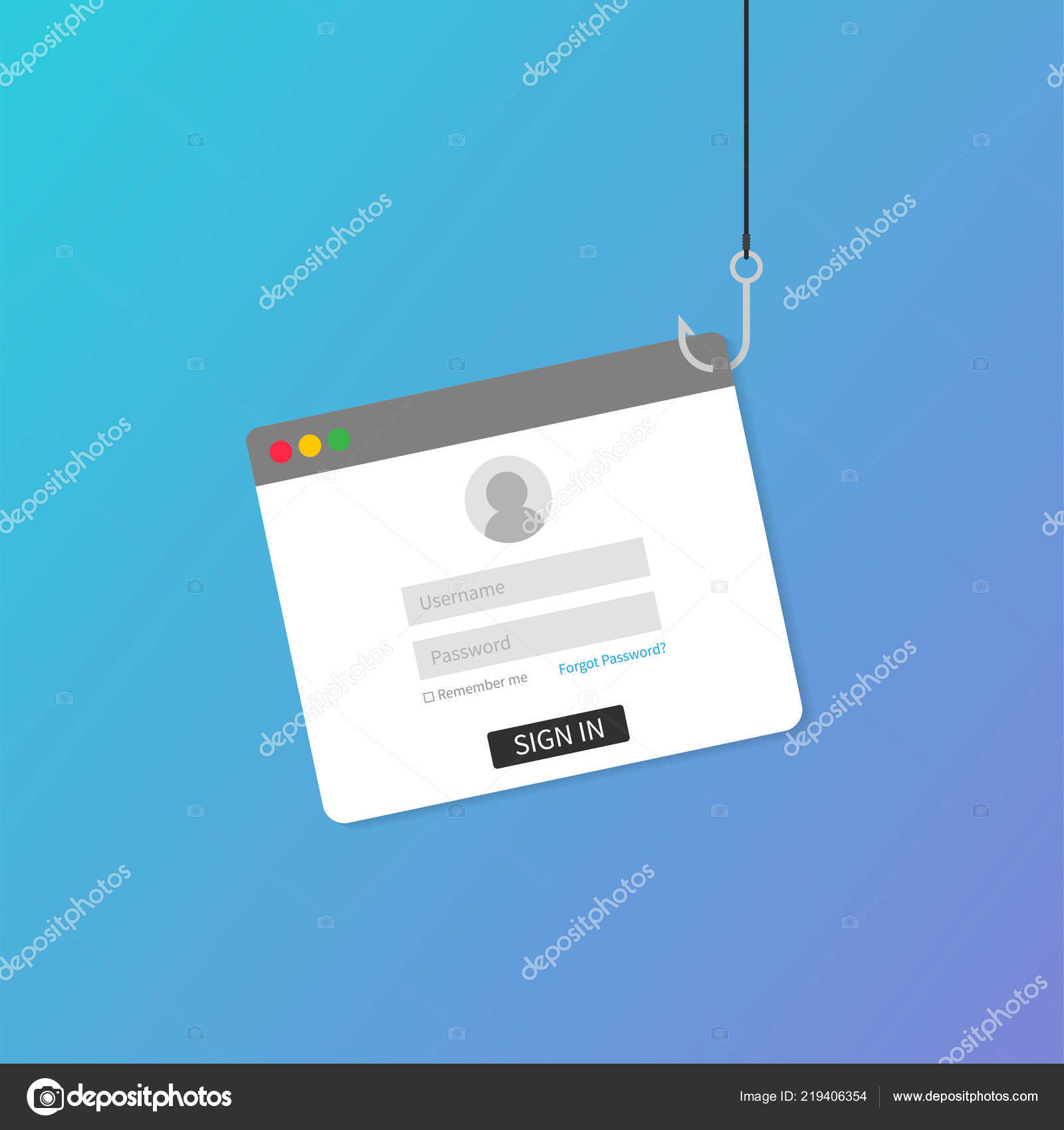 Laptop internet security concept  Internet phishing, hacked login