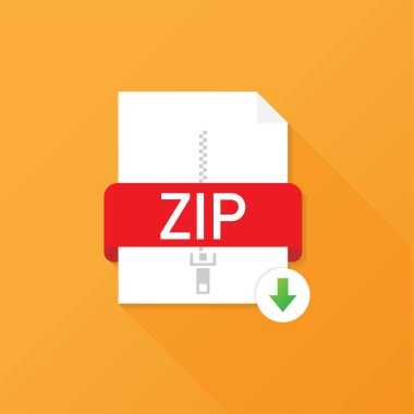 Download ZIP button. Downloading document concept. File with ZIP label and down arrow sign. Vector illustration.