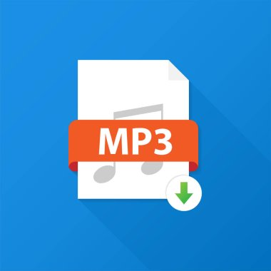 Download MP3 button. Downloading document concept. File with MP3 label and down arrow sign. Vector illustration.