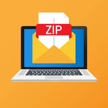 Laptop with envelope and ZIP file. Notebook and email with file attachment ZIP document. Vector illustration.