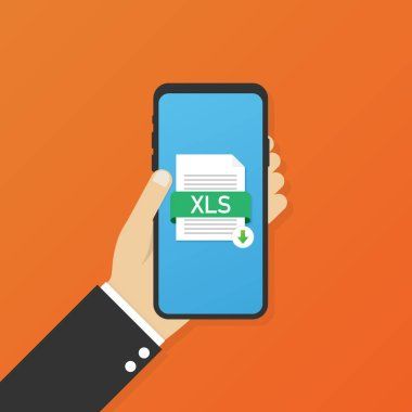 Download XLS button on smartphone screen. Downloading document concept. File with XLS label and down arrow sign