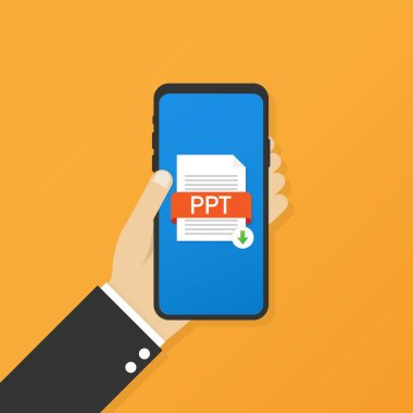 Download PPT button on smartphone screen. Downloading document concept. File with PPT label and down arrow sign