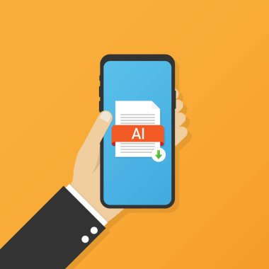Download AI button on smartphone screen. Downloading document concept. File with AI label and down arrow sign
