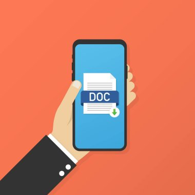 Download DOC button on smartphone screen. Downloading document concept. File with DOC label and down arrow sign