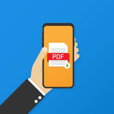 Download PDF button on smartphone screen. Downloading document concept. File with PDF label and down arrow sign