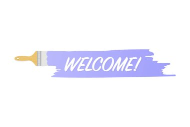 Banner with brushes, paints - Welcome! Vector illustration.