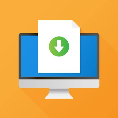 Computer and download file icon. Document downloading concept. Trendy flat design graphic with long shadow.