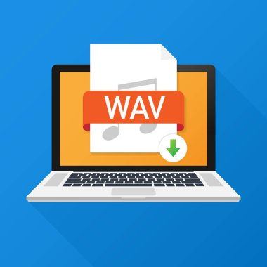 Download WAV button on laptop screen. Downloading document concept. File with WAV label and down arrow sign. Vector stock illustration.