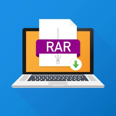 Download RAR button on laptop screen. Downloading document concept. File with RAR label and down arrow sign.