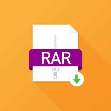 Download RAR button on laptop screen. Downloading document concept. File with RAR label and down arrow sign. Vector illustration.
