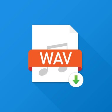 Download WAV button on laptop screen. Downloading document concept. File with WAV label and down arrow sign. Vector illustration.