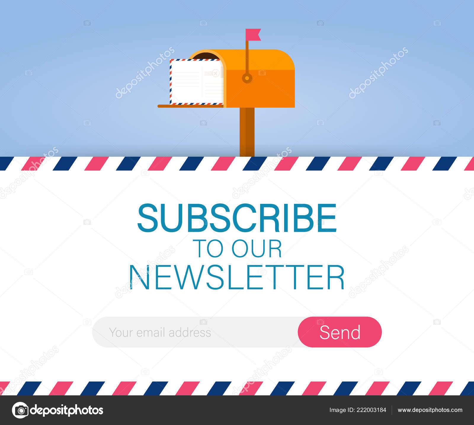 Email subscribe, online newsletter vector template with