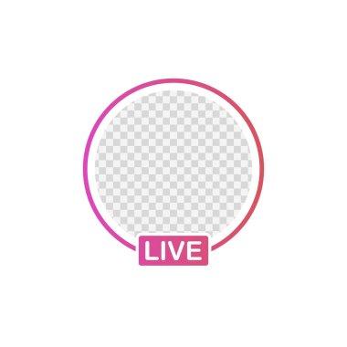 Social media icon avatar frame. Live stories user video streaming. Vector illustration.