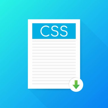 Download CSS button. Downloading document concept. File with CSS label and down arrow sign. Vector illustration.
