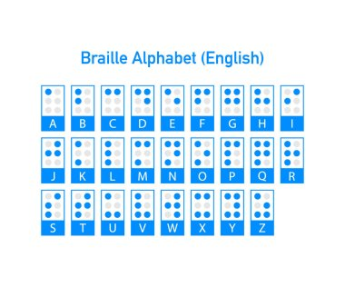 Braille English alphabet letters. Writing signs system for blind or visually impaired people. Vector illustration.