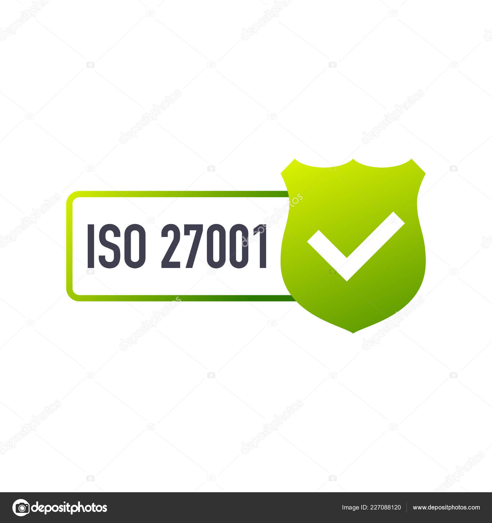 ISO 27001 Certified Badge Icon Certification Stamp Flat Design Vector Stock Illustration