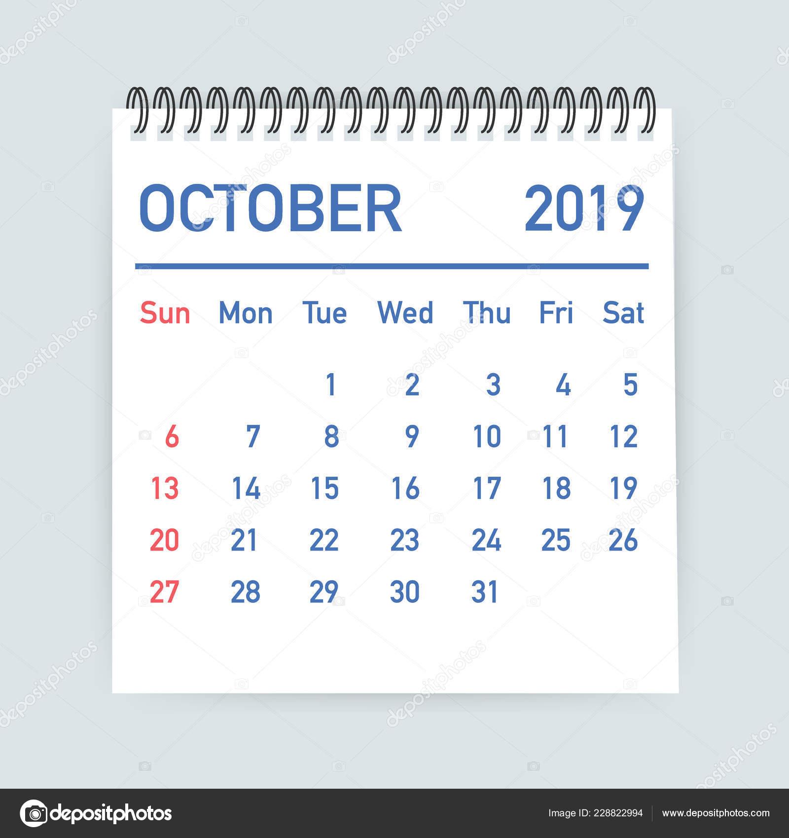 Octobre Calendrier 2019.Feuille De Calendrier Octobre 2019 Calendrier 2019 Dans Le