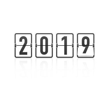 Happy new year 2019 timetable, editable vector design. Vector illustration.