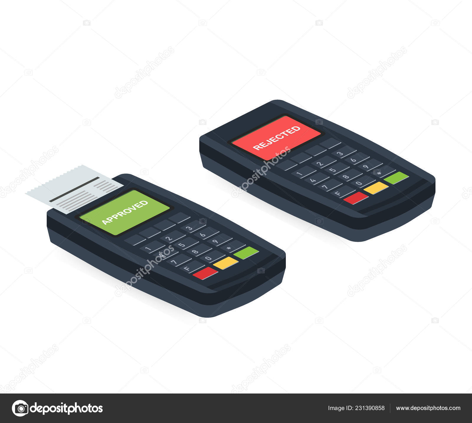 Concept Payment terminals with cross and tick check marks on