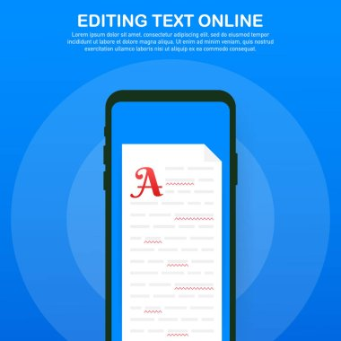 Editable online document. Creative writing and storytelling, copywriting . Online education, distant learning concept. Vector illustration
