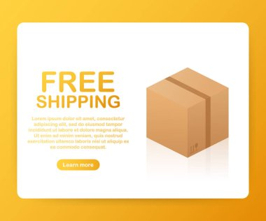 Free Shipping Cardboard Box. Businesses, Online Store, Online Retail, Company, Promotion. Vector illustration.