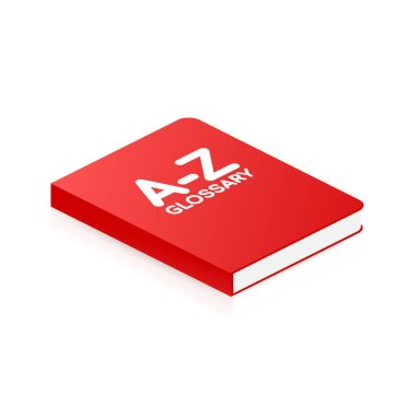 Concept A-Z glossary book for web page, banner, social media. Vector illustration