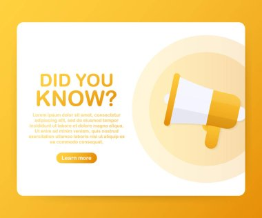 Megaphone Hand, business concept with text Did you know? Vector illustration