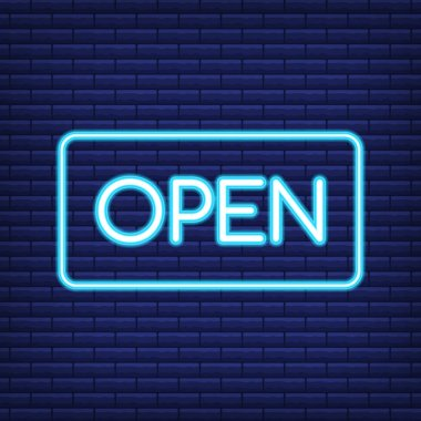 Neon sign board 3d rendering. Neon open sign. Vector illustration.