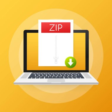 Download ZIP button on laptop screen. Downloading document concept. File with ZIP label and down arrow sign. Vector illustration.