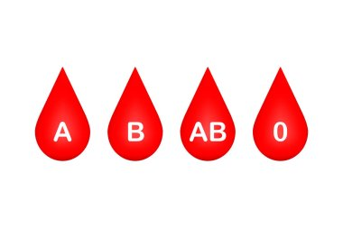 Drop of blood, blood type on white background. Vector illustration.
