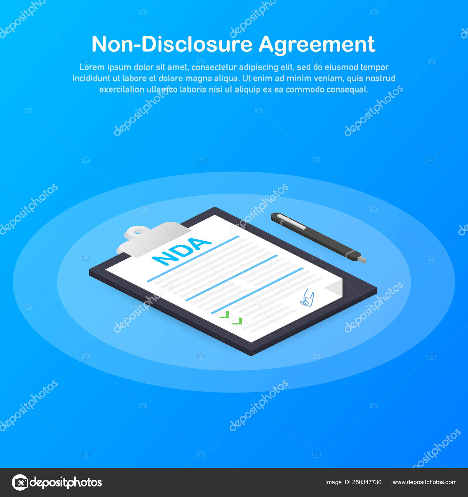 Signing Nda Non Disclosure Agreement Document Vector